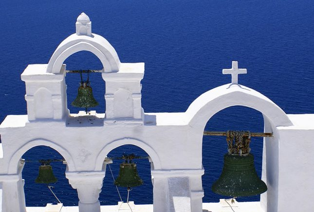 Traditional orthodox church at Thira of Santorini island in Gree