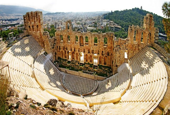 ancient theater in Acropolis Greece, Athens