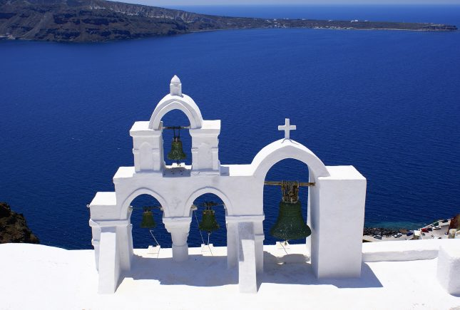 Traditional orthodox church at Thira of Santorini island in Greece